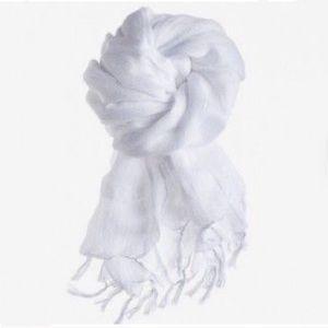 Lightweight White Tassel Scarf